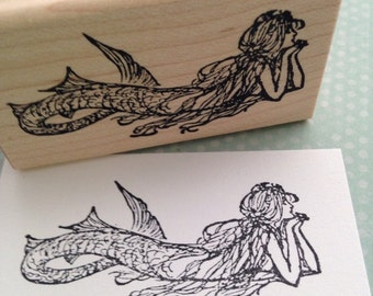 Small Daydreaming Mermaid  Wood Mounted Rubber Stamp 2953