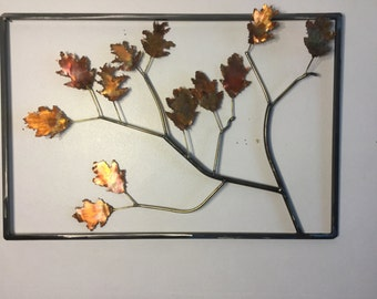 Framed Copper Oak Leaf Spray
