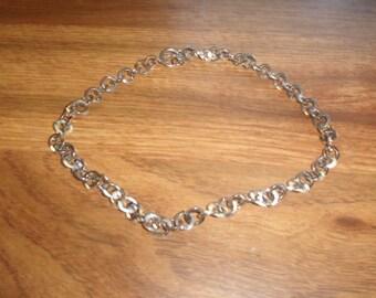 vintage necklace silvertone link chain