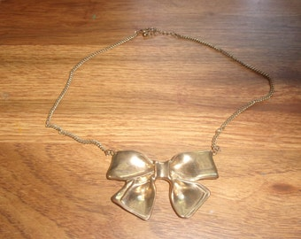 vintage necklace goldtone bow choker