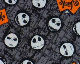 Nightmare before Christmas, Yard,  Jack Fabric, Jack Skellington, Jack's Head, Jacks Name, Tim Burton, Orange and Gray