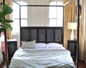 Queen or King Canopy Bed Made from Reclaimed Wood and Victorian Ceiling Tin