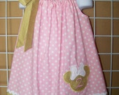Minnie Mouse Pillowcase Dress, Minnie Mouse Dress, Monogrammed Gold, Pink and White Polka Dot Dress, Disney Vacation Dress, Size 6 mos to 14