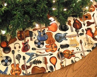 "Guitar Christmas Tree Skirt, Guitars Decoration, Rock and Roll Christmas, Gift for Guitarist, 42"" Diameter Xmas Tree Skirt"