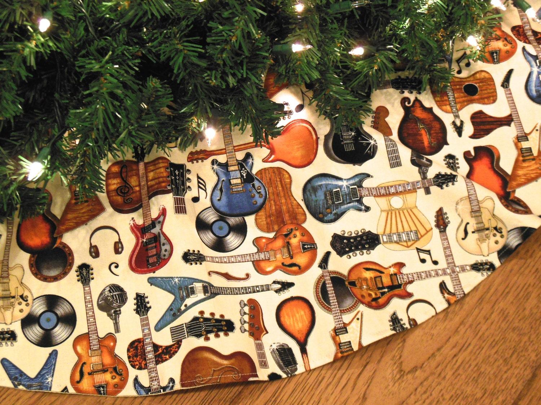 Guitar Christmas Tree Skirt Guitars Decoration Rock And Roll
