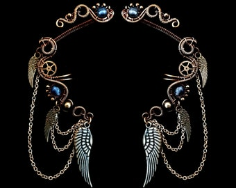 Steampunk Ear Cuff Wrap - Winged Cartilage Earrings - Gemstone Jewelry - Victorian Steampunk Collection