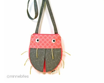 Pink Ladybug Purse by MinneBites / Handmade Cross Body Purse for Girls - Pink Gray Bug Bag - Toddler Birthday Gift for Girls - Ready to Ship