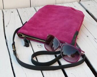 Suede leather crossbody bag, Leather bag, Minimalist small Purse, mini Clutch Magenta Teenager festival bag, mini bag, birthday gift