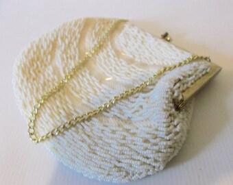 Vintage 1960s White Cream Beaded Evening Bag 60's Wedding Bridal Purse