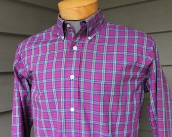 vintage 1970's -SERO- Men's Long sleeve, Button down collar shirt.  'Coventry Cloth'  Made in USA. Imported fabric - Cotton.  Large