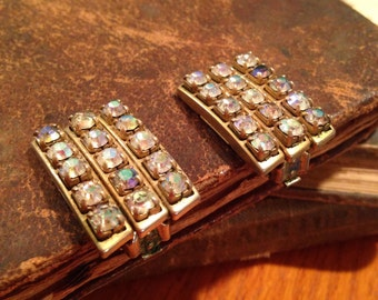 Vintage Brass and Rhinestone Clip Earrings