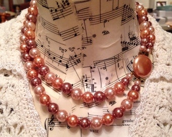 Vintage Two Strand Glass Pearl Necklace