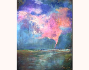 Pink Tornado Landscape Painting - Original painting Ready to ship 18x24 Laura Sue art