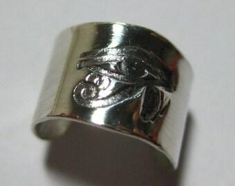 Sterling Silver Ear Cuff Eye of Horus Eye of Ra