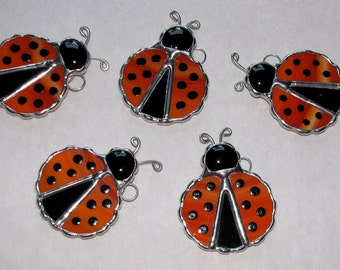Stained Glass Suncatcher - Red  or Green Ladybug with spots, Pick your color