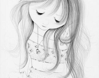 Nursery Fine Art Pencil Drawing Illustration Hand Drawn Illustration Kids Wall Art Girls Room Gift for Her Minimalist Drawing Illustration
