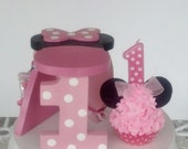 Minnie Mouse Fake Cupcake with Wooden Stand Pink Polka Dot Number 1 One, Photo Props, First Birthday Party Decorations