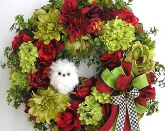 Spring Wreath, Easter Wreath,  Owl Wreath, Mother's Day Wreath, Summer Wreath