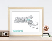 Massachusetts Typography Map 8x10 Print