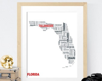 Florida Typography Map 8x10 Print