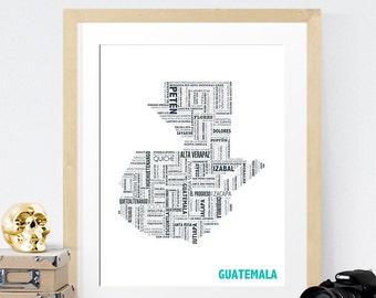 Guatemala Typography Map 8x10 Print