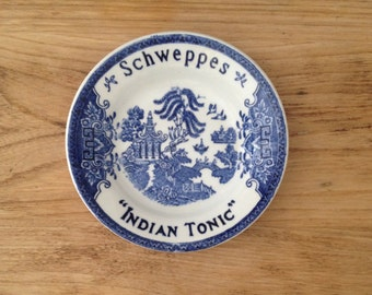 French vintage Luneville pottery tip dish advertising Schweppes tonic
