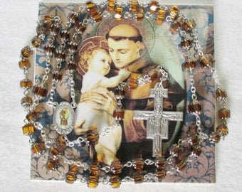 Handmade Catholic Rosary,  Jablonex Czech Glass Honey Amber Cathedral Beads, St. Anthony Color Center, San Damiano Crucifix