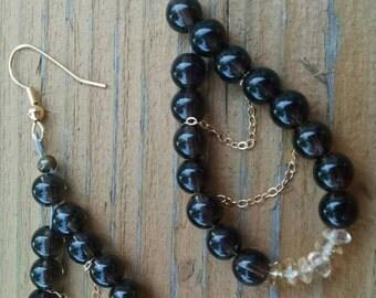 Smoky Quartz, Vermeil Gold Chain Citrine Dangle Earrings