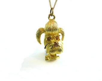 Rhinestone Dog Pendant.  Poodle, Schnauzer, Mutt. Textured Gold Tone 3D Animal, Gold Fill Chain. Vintage 1960s Jewelry
