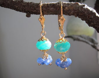 Vintage Jewelry Earrings with Amazonite and Sapphire