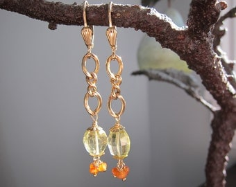Vintage Jewelry Earrings with Vintage Chain, Quartz and Hessonite Gems