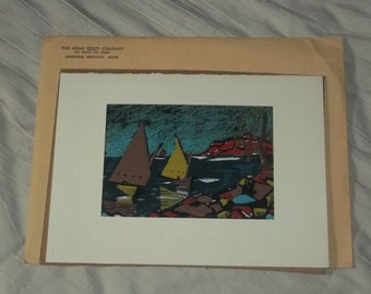 Serigraph Listed Art Artist Ernest Hopf 40's Mid Century Modern Sails Print