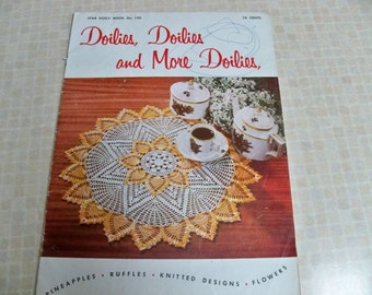 1950 American Thread Co. Doiles, Doilies and More Doilies Star Doily Book 120 Paper Ephemera Pineapples, Ruffles, Knitted Designs, Flowers