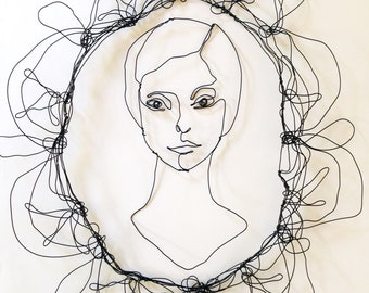 Wire Wall Art Face Of Woman In Wire Modern Art Sculpture Ready