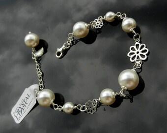 Exclusive Sterling Silver Bracelet Adjustable Swarovski Pearls