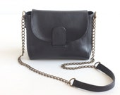 ROXY Leather Crossbody Bag. Leather Chain Purse. Black Leather Bag. Small Leather Purse. Black Purse. Cross Body Bag. Black Shoulder Purse