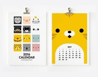 2016 Calendar Cute Animal, Christmas Gift , New Year Gift, Nursery Art, Children Room Decor 4 x 6 or 5 x 7