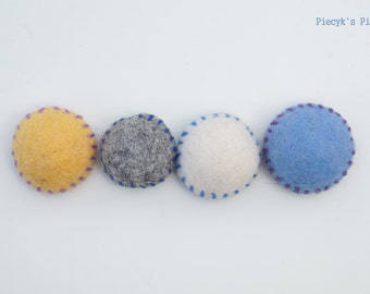 Felt Fridge Magnets - set of 4 - Blue Grey Yellow White Felt Magnets - OOAK - Child Safe