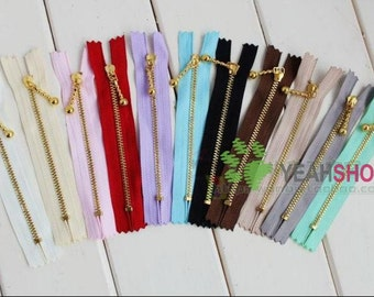 Golden Metal Purse Zippers - 12cm / 4.7 inches - 5 PCS (ZP12-2)