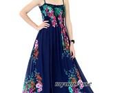 Navy Blue Dress Maxi Dress Summer Plus Size Floral Evening Dress Chiffon Dress