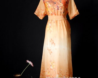 Floral Dress Maxi Dress Dress Party Coast Chiffon Summer Orange Sundress
