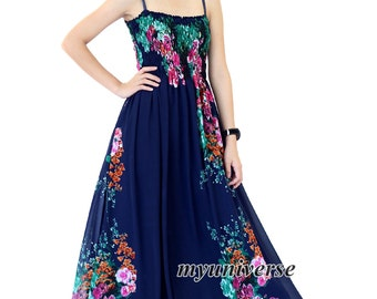 Navy Blue Dress Maxi Dress Summer Plus Size Floral Evening Dress Chiffon Dress