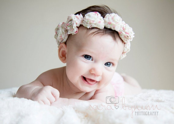 Baby Flower Ring Halo Headband Photo Prop Photoprop RosesToddler RTS Ready to Ship