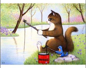 cat bird fishing lake Fishing Buddies Limited edition ACEO art print signed numbered free shipping animal landscape miniature flowers KR
