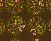 Tiger Lily Flower Wreaths in Brown, Heather Ross, Windham Fabrics, 100% Cotton Fabric, 40928-3
