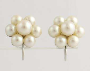 Cultured Pearl Cluster Earrings- 14k White Gold Stud Style June Gift Non-Pierced L3577