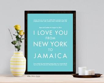 Jamaica Print, Jamaica Travel Art, Travel Wedding Decor, Paper Anniversary, MADE TO ORDER Travel Poster