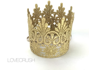 READY TO SHIP ||Tallulah || gold|| lace crown|| headband option|| photography prop || princess ||all ages