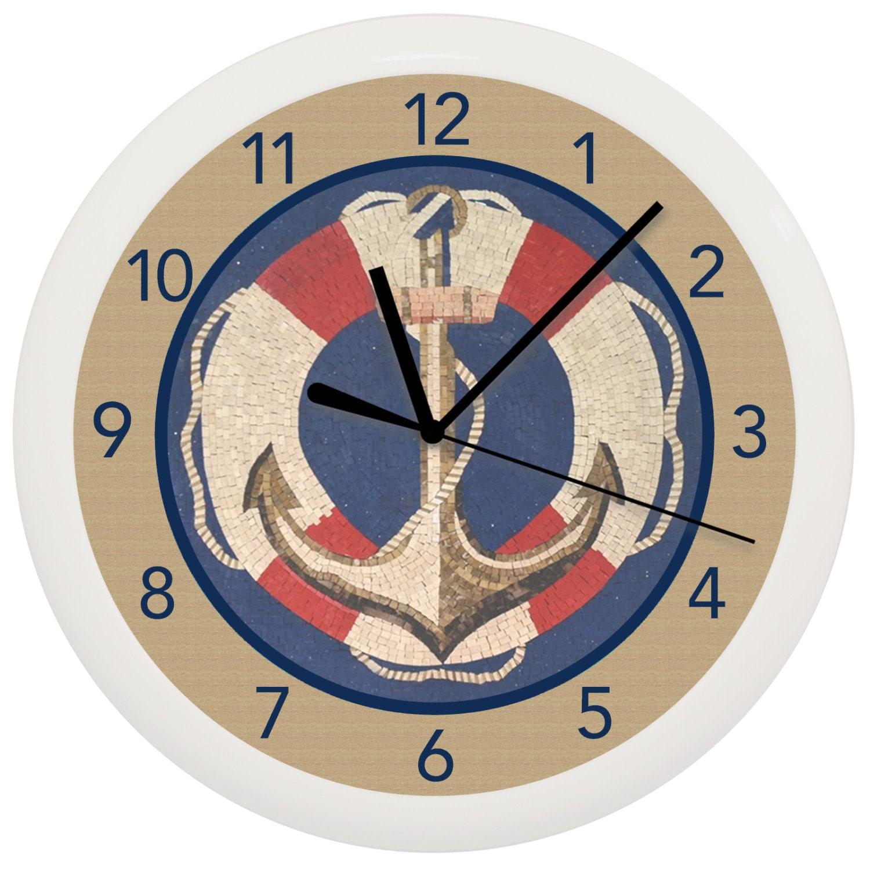 Nautical anchor seaside wall clock for Seashell wall clock