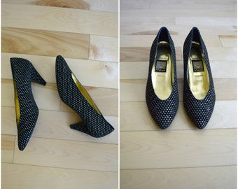 Vintage Nina black and gold glitter polka dot heels / retro metallic velvet pumps / women's size 8M / leather sole